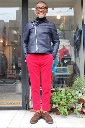 How to wear: dark brown suede derby shoes, hot pink chinos, black turtleneck, navy leather biker jacket
