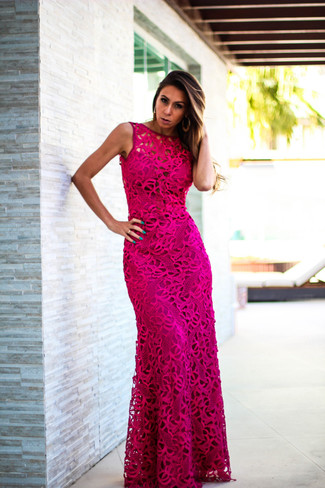How to wear: hot pink evening dress, gold earrings