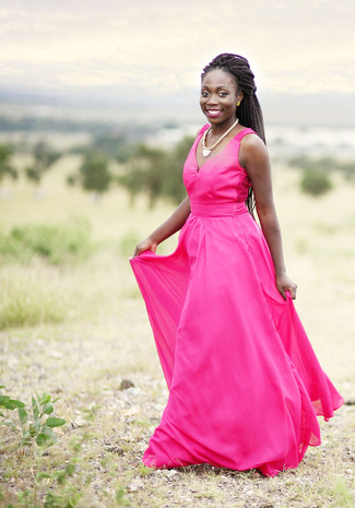 How to wear: hot pink evening dress, gold necklace, gold earrings