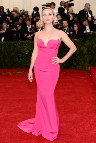 How to wear: hot pink evening dress