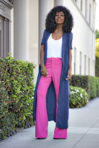 How to wear: hot pink flare pants, white crew-neck t-shirt, navy duster coat