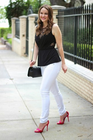 How to wear: black quilted leather crossbody bag, hot pink satin heeled sandals, white skinny jeans, black sleeveless top