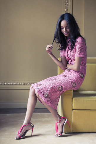 How to wear: hot pink leather heeled sandals, hot pink lace midi skirt, hot pink lace short sleeve blouse