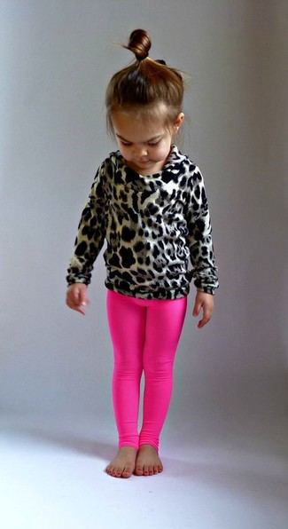 How to Wear a Tan Sweater For Girls: Go for a tan sweater and hot pink leggings for your tot for a fun day out at the playground.
