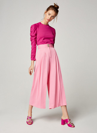 How to wear: hot pink long sleeve blouse, pink culottes, hot pink embellished satin heeled sandals