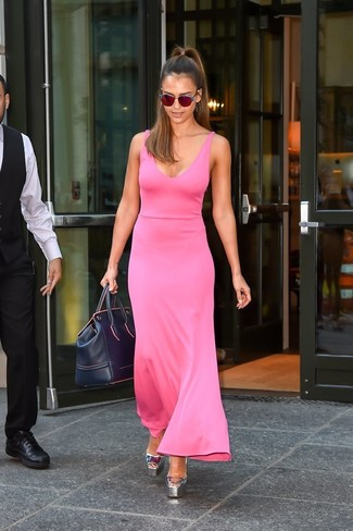 Jessica Alba wearing Hot Pink Maxi Dress, Silver Leather Heeled Sandals, Navy Leather Duffle Bag, Red Sunglasses