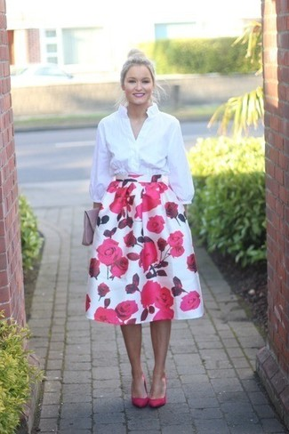 How to wear: pink leather clutch, hot pink leather pumps, white and pink floral full skirt, white dress shirt