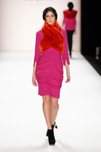 How to wear: hot pink sheath dress, black suede ankle boots, red fur scarf