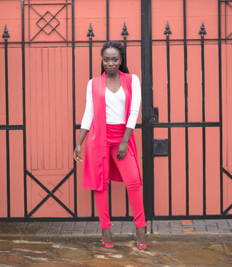 How to wear: hot pink leather heeled sandals, hot pink skinny pants, white long sleeve t-shirt, hot pink sleeveless coat