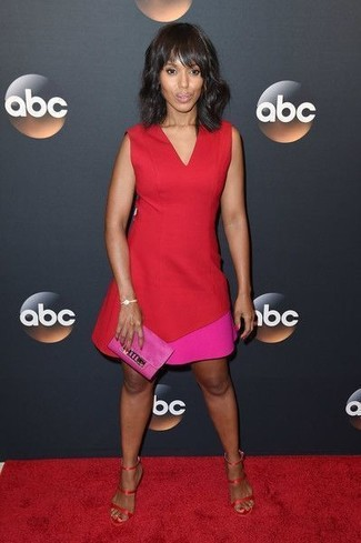 How to wear: hot pink suede clutch, red satin heeled sandals, red sheath dress