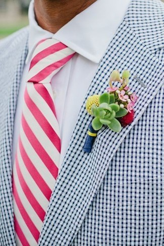 How to wear: green floral lapel pin, hot pink vertical striped tie, white dress shirt, white and navy gingham blazer