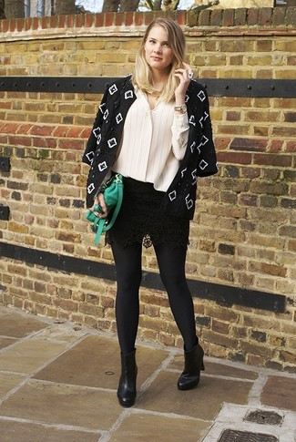 How To Wear a Black Mini Skirt With Black Leather Ankle Boots ...