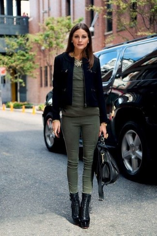 Olivia Palermo wearing Black Suede Jacket, Olive Crew-neck T-shirt, Olive Skinny Pants, Black Leather Lace-up Ankle Boots