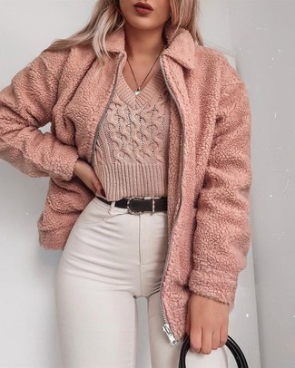 How to wear: pink textured jacket, pink cropped sweater, white skinny jeans, black leather tote bag