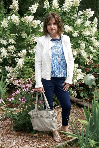 Women's White Leather Jacket, Blue Print Sleeveless Top, Navy Tapered Pants, Beige Leather Flat Sandals