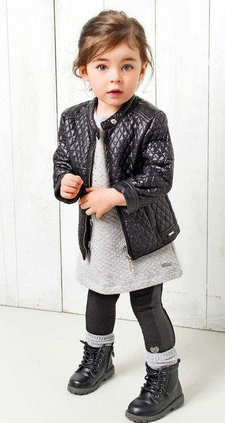 Girls' Black Leather Jacket, Grey Sweater Dress, Black Leggings, Black Boots