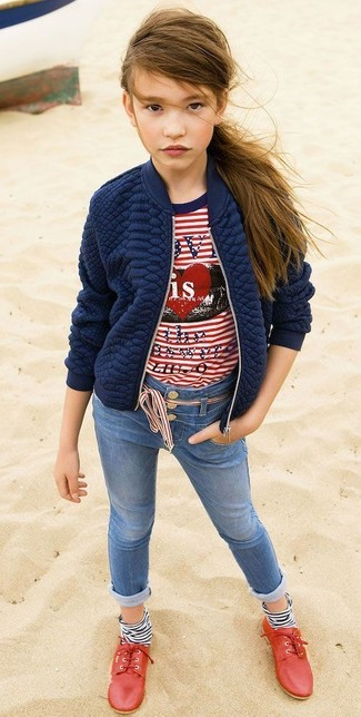 How to wear: navy quilted jacket, white and red horizontal striped t-shirt, blue jeans, red oxford shoes