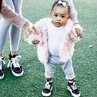 Girls' Pink Fur Jacket, White T-shirt, Grey Sweatpants, Black Sneakers