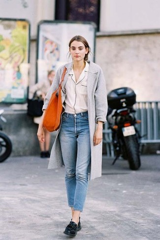 How to wear: black leather tassel loafers, blue jeans, white silk button down blouse, grey coat