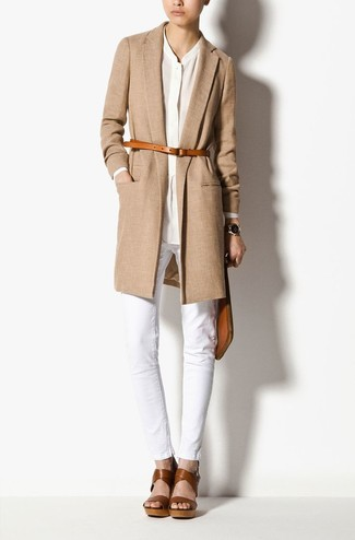 How to wear: brown leather wedge sandals, white jeans, white button down blouse, camel coat