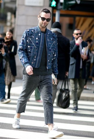 How to wear: grey low top sneakers, charcoal jeans, black cable sweater, navy embroidered bomber jacket