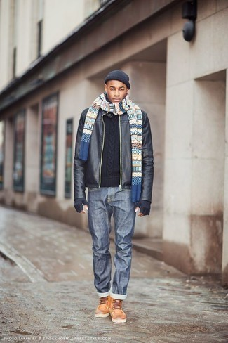 How to Wear a Navy Beanie For Men: A black leather bomber jacket and a navy beanie matched together are a perfect match. Introduce tobacco leather casual boots to the equation to completely change up the look.