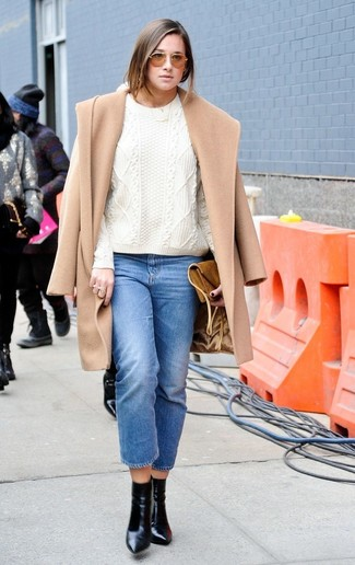 How to wear: black leather ankle boots, blue jeans, white cable sweater, camel coat