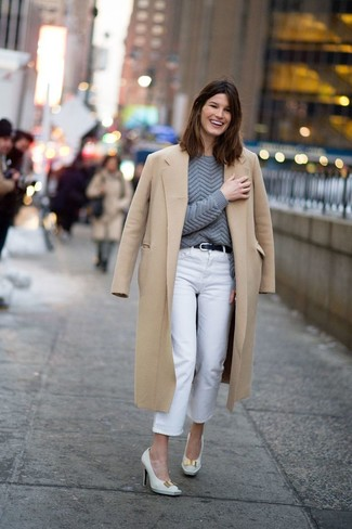 How to wear: white leather pumps, white jeans, charcoal cable sweater, camel coat