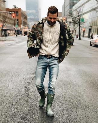Men's Dark Green Rain Boots, Light Blue Jeans, White Cable Sweater, Olive Camouflage Puffer Jacket