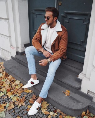 How to wear: white print leather low top sneakers, light blue jeans, white cable sweater, tobacco shearling jacket