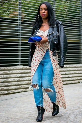 How to wear: black leather lace-up ankle boots, blue ripped jeans, white print cami dress, black leather biker jacket