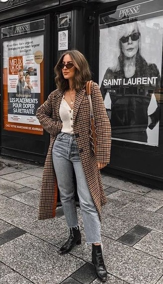 How to wear: black leather ankle boots, grey jeans, white cardigan, brown check coat