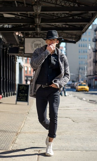 How to wear: white high top sneakers, black jeans, charcoal knit cardigan, black denim jacket