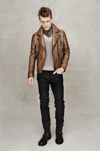 How to wear: black suede casual boots, black jeans, grey crew-neck sweater, brown leather biker jacket