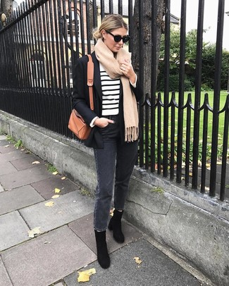 How to Wear a Tan Scarf In Warm Weather For Women: Pair a black blazer with a tan scarf to be both stylish and comfortable. Why not take a classier approach with footwear and complete your ensemble with a pair of black suede ankle boots?