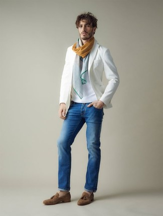 How to wear: brown suede tassel loafers, blue jeans, white crew-neck sweater, white blazer