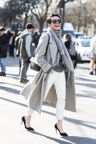 How to wear: black suede pumps, white jeans, charcoal crew-neck sweater, grey coat