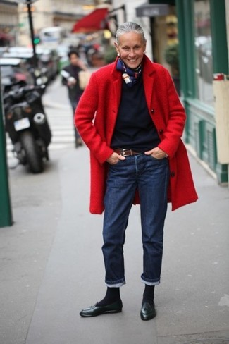 How to wear: black leather tassel loafers, navy jeans, navy crew-neck sweater, red coat