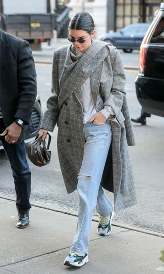 How to wear: grey athletic shoes, light blue ripped jeans, white crew-neck sweater, grey plaid coat
