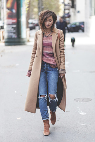 How to wear: brown suede ankle boots, blue ripped jeans, pink horizontal striped crew-neck sweater, beige coat