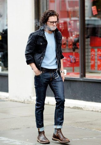 How to wear: dark brown leather chelsea boots, navy jeans, light blue crew-neck sweater, black denim jacket