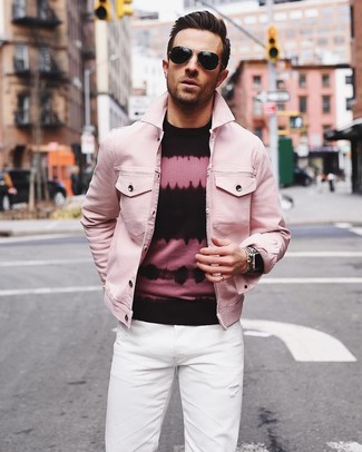 How to wear: black sunglasses, white jeans, pink and black tie-dye crew-neck sweater, pink denim jacket