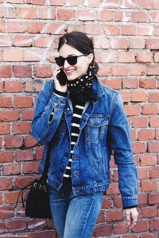 How to wear: black suede bucket bag, blue jeans, black and white horizontal striped crew-neck sweater, blue denim jacket