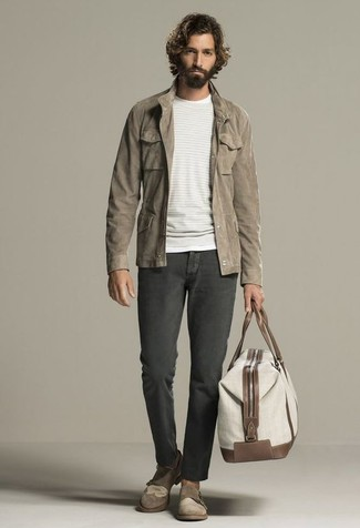 How to wear: brown suede double monks, charcoal jeans, beige crew-neck sweater, brown field jacket