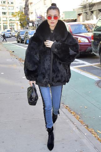 How to wear: black velvet ankle boots, blue jeans, black crew-neck sweater, black fur coat