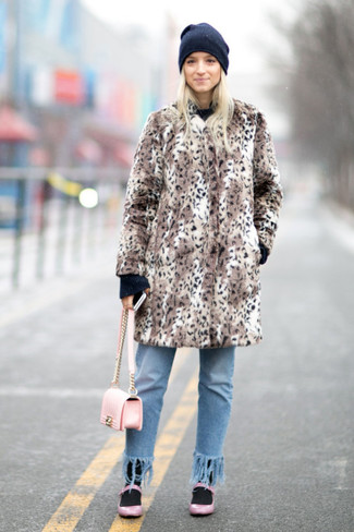 How to wear: pink leather ballerina shoes, light blue fringe jeans, black crew-neck sweater, brown leopard fur coat