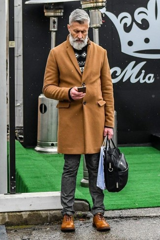 How to wear: brown leather brogues, charcoal jeans, black and white fair isle crew-neck sweater, camel overcoat