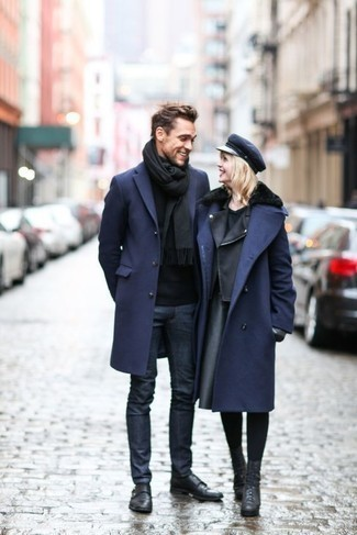 How to Wear Black Leather Double Monks: For an effortlessly neat look, pair a navy overcoat with navy jeans — these two items go well together. Boost the dressiness of this look a bit by wearing a pair of black leather double monks.