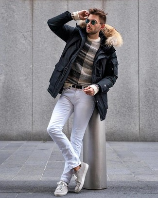 How to wear: grey suede low top sneakers, white jeans, beige horizontal striped crew-neck sweater, black parka