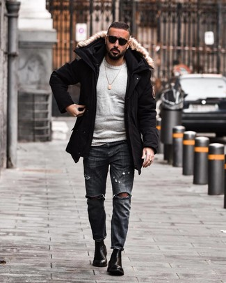 How to Wear Charcoal Ripped Jeans For Men: This pairing of a black parka and charcoal ripped jeans is great for casual occasions. To add some extra fanciness to your outfit, rock a pair of black leather chelsea boots.